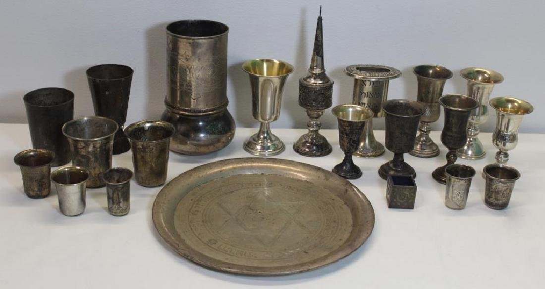 SILVER. Assorted Grouping of Judaica Silver Items.