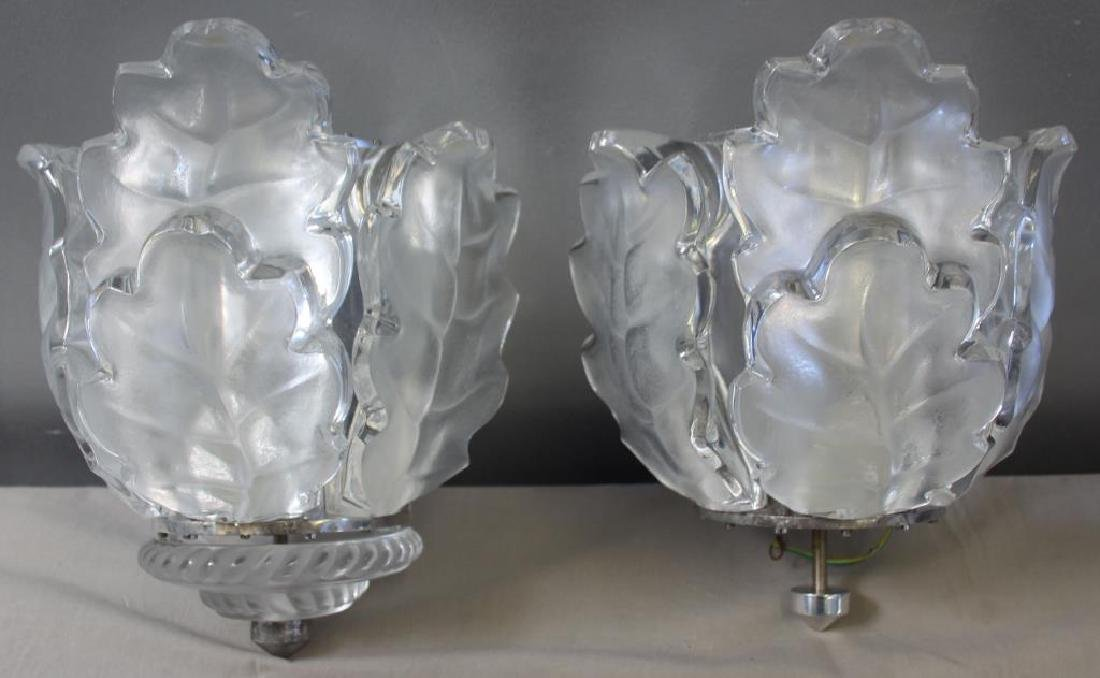 "LALIQUE.A Pair Of  ""Chene"" Oak Leaf Sconces"