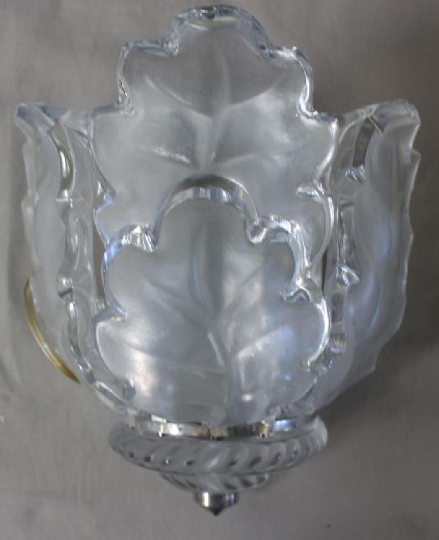 "LALIQUE.A Pair Of  ""Chene"" Oak Leaf Sconces - 3"