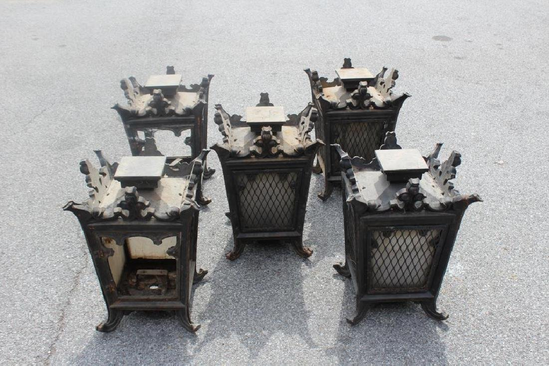 5 Antique Iron and Glass Lanterns.