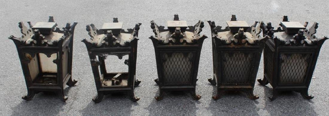 5 Antique Iron and Glass Lanterns. - 2