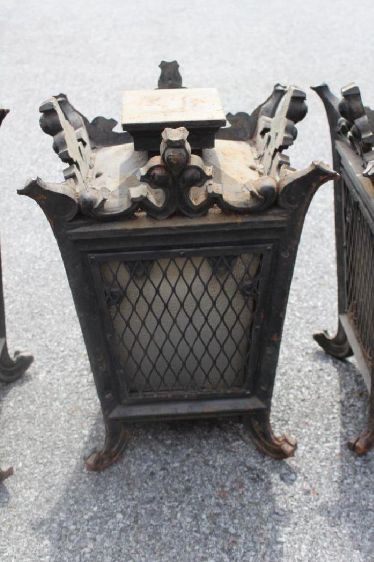 5 Antique Iron and Glass Lanterns. - 5