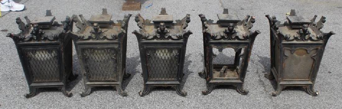 5 Antique Iron and Glass Lanterns. - 6