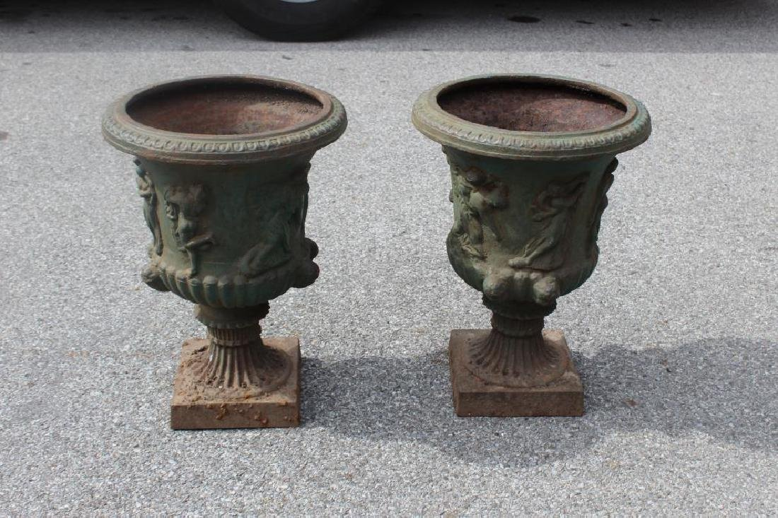 Pair of Green Painted Classical Iron