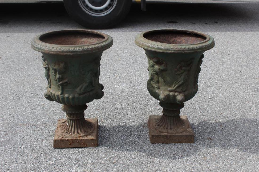 Pair of Green Painted Classical Iron - 2