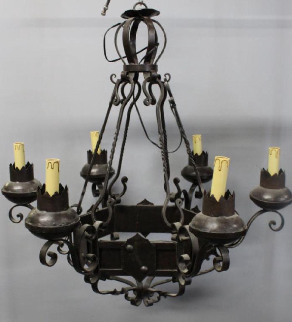 Tudor Style patinated Iron 5 Light Chandelier