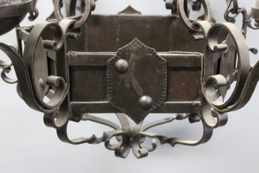Tudor Style patinated Iron 5 Light Chandelier - 2