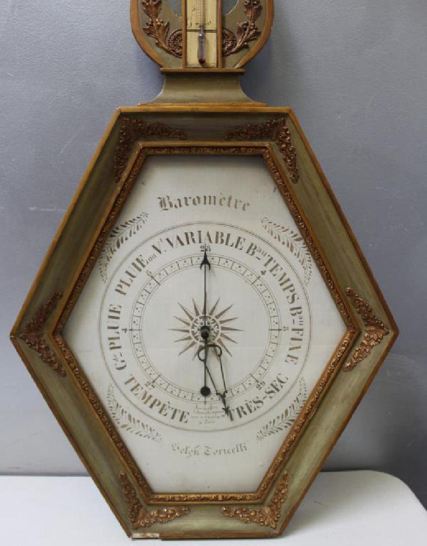 Antique French Barometer / Thermometer - 2