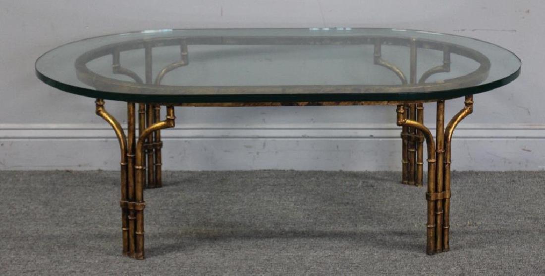 Decorative Gilt Metal Bamboo Form Coffee Table.