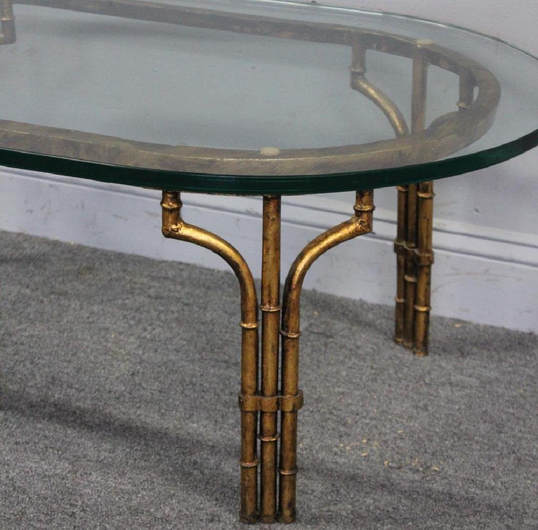 Decorative Gilt Metal Bamboo Form Coffee Table. - 2