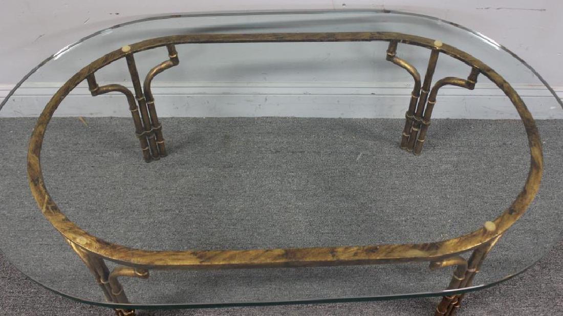 Decorative Gilt Metal Bamboo Form Coffee Table. - 3