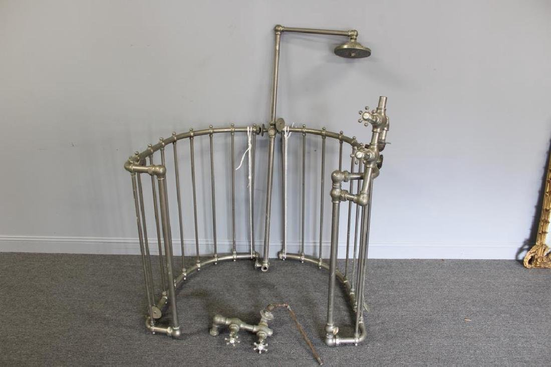 Antique Nickle or Zinc Shower Cage - 2