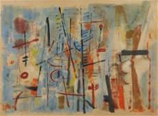 VON WICHT, John. Oil on Paper. Untitled Abstract.