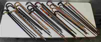 Collection of 29 Assorted Canes  Walking Sticks