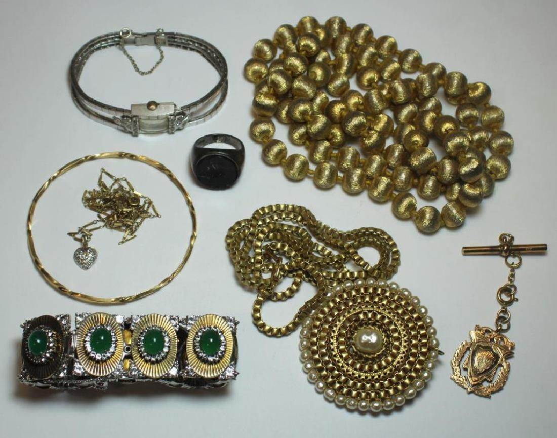 JEWELRY. Assorted Grouping of Gold and Silver