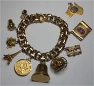JEWELRY. 14kt Gold Charm Bracelet with 10