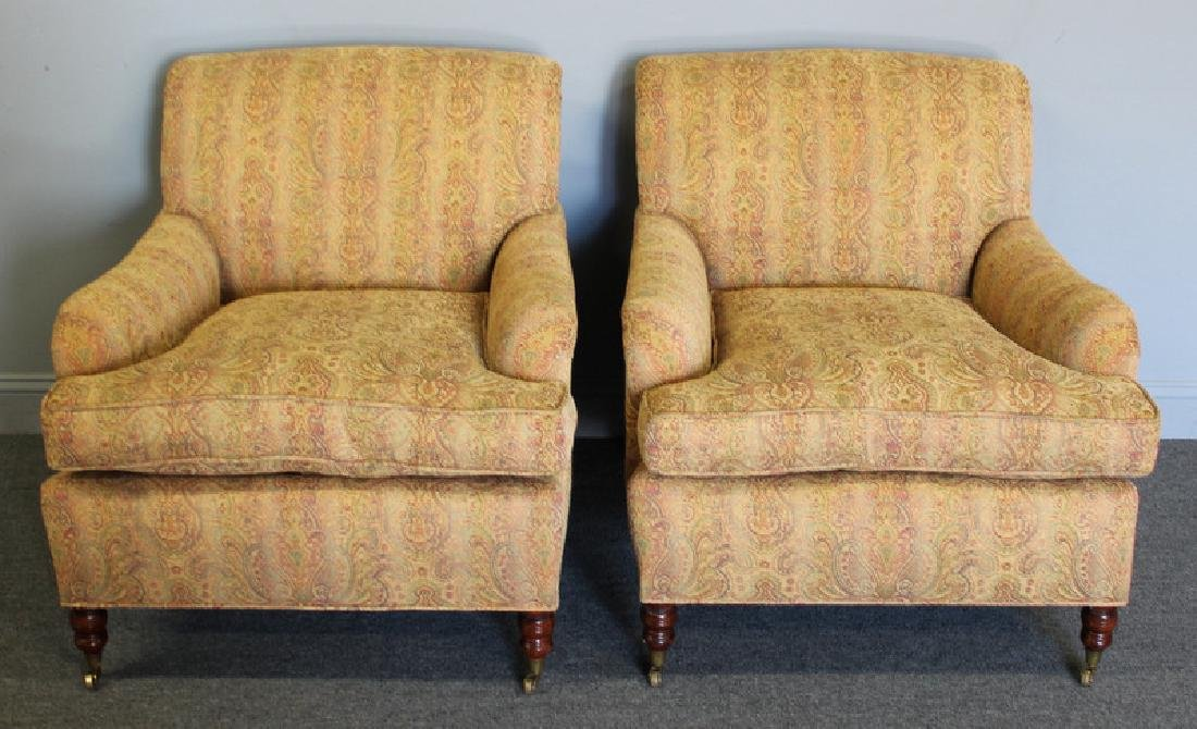 Pair of George Smith Upholstered Club Chairs.