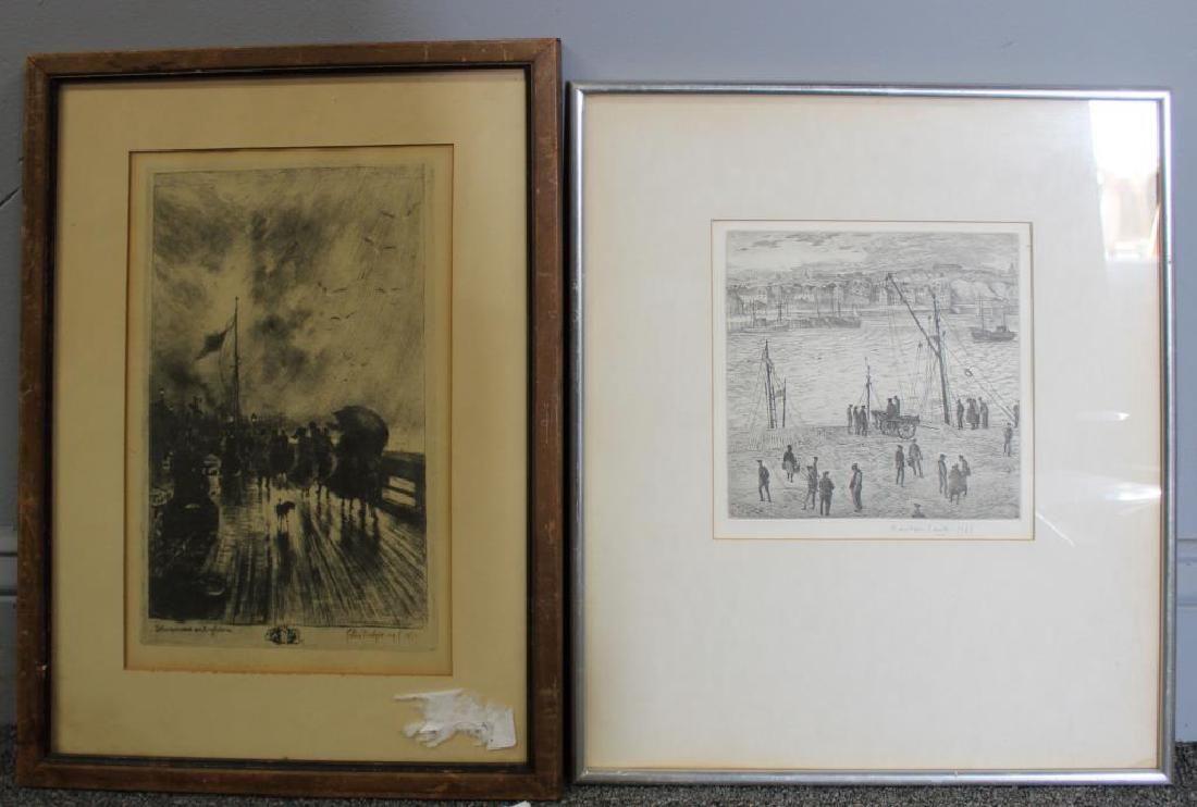 LOT of Two Engravings. Dockside Scenes.