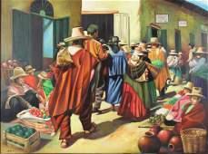 ADALID. Oil on Canvas. Village Scene.