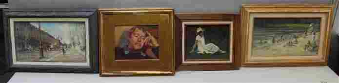 GRISELL, Susan. Lot of 3 Oil on Board and 1 Oil on