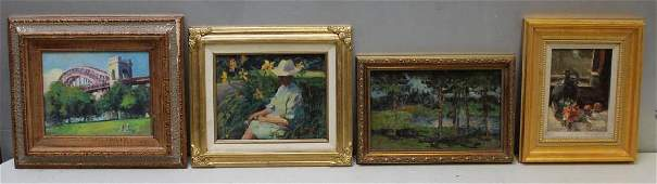 LOT of 4 Oil on Board Paintings.