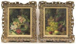 CLARE, Oliver. Pair of Oil on Canvas Still Lifes