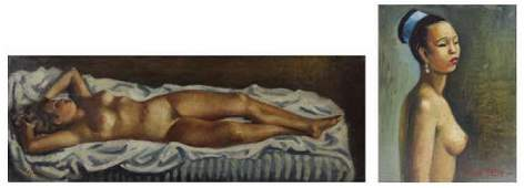 BESSET, Rene. Two Oils of Nudes.