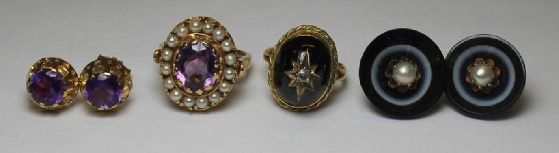 JEWELRY. Assorted Antique Gold Jewelry Grouping.