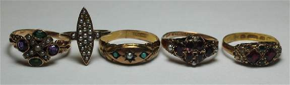 JEWELRY. Antique Grouping of Rings with Seed Pearl