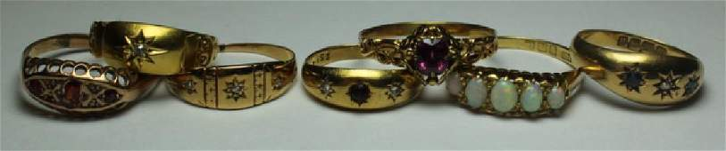 JEWELRY. Assorted Antique Gold Ring Grouping.