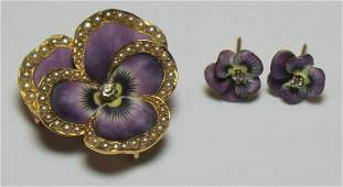 JEWELRY 3 Pc Victorian Pansy Jewelry Suite