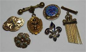 JEWELRY. Assorted Antique/Vintage Brooch Grouping.