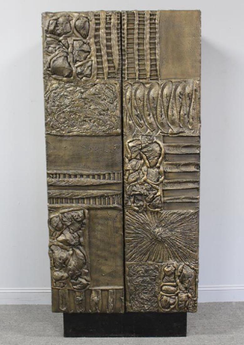 MIDCENTURY. Paul Evans Sculptured Metal Armoire .