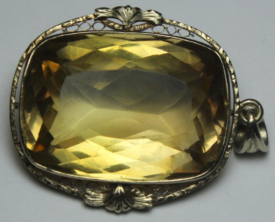 JEWELRY. 14kt Gold and 68 Ct. Topaz Pendant.
