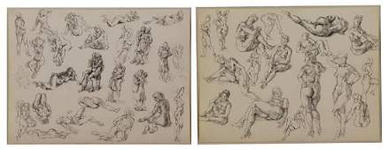 MARSH, Reginald. Two Ink on Paper Figure Studies.