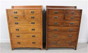 A Pair of Stickley Audi Oak Arts and Crafts Style