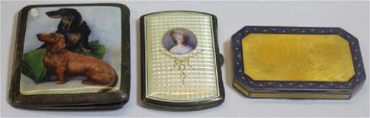 SILVER Grouping of Enamel Decorated Boxes