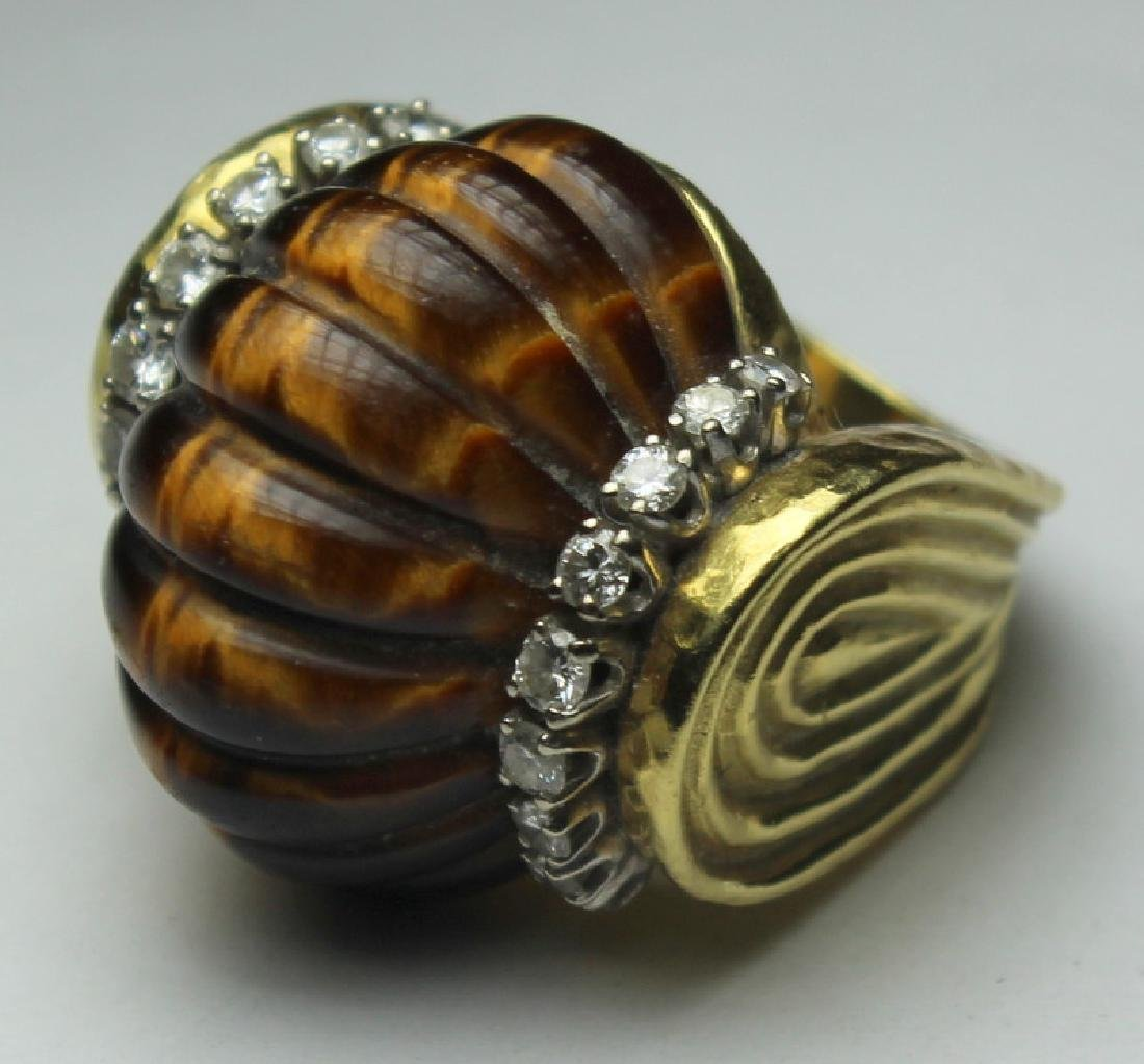 JEWELRY. R. Stone 18kt Gold, Tiger's Eye, and