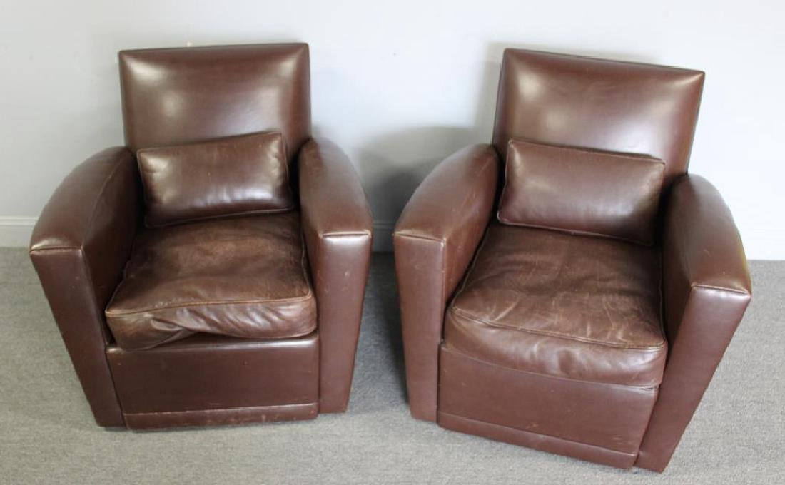 Pair Of Holly Hunt Leather Upholstered Swivel