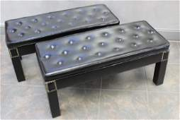 MIDCENTURY. Pair Of Tufted Upholstered Benches .