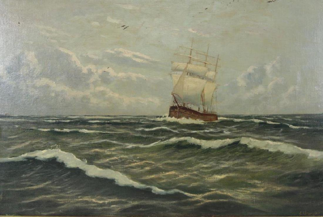 ILLEGIBLY Signed. Oil on Board. Ship at Sea.