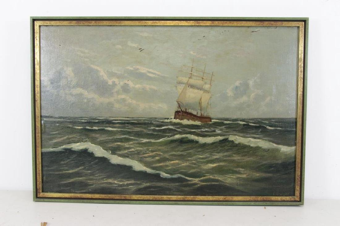 ILLEGIBLY Signed. Oil on Board. Ship at Sea. - 2