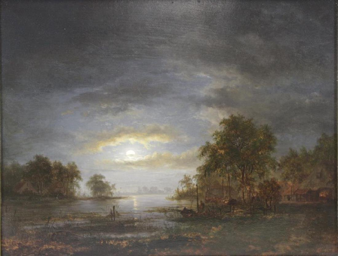 """UNSIGNED. Oil On Panel """"River Life At Dusk"""""""