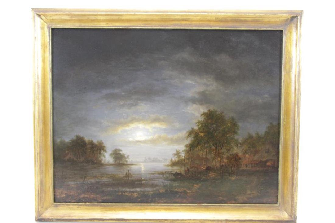 "UNSIGNED. Oil On Panel ""River Life At Dusk"" - 7"