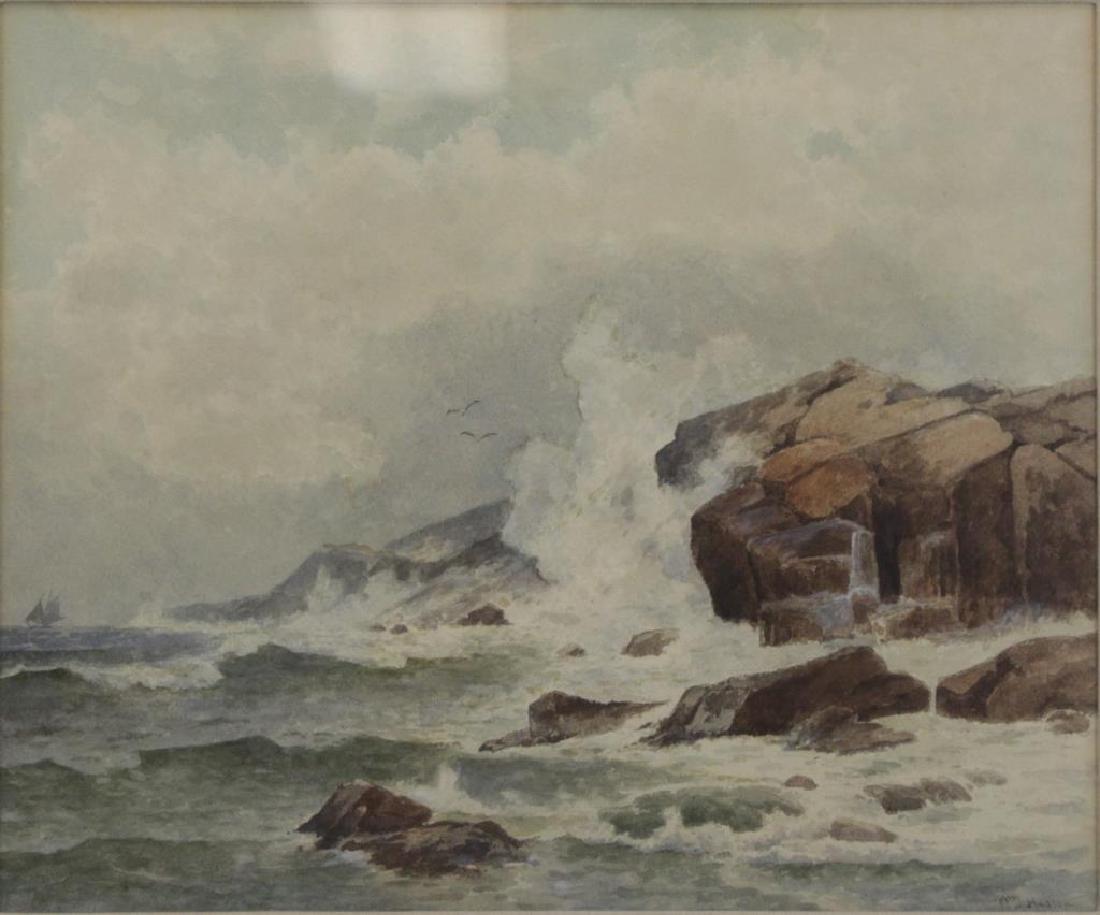 """HUSTON, William. Watercolor. """"Boat at Sea""""."""