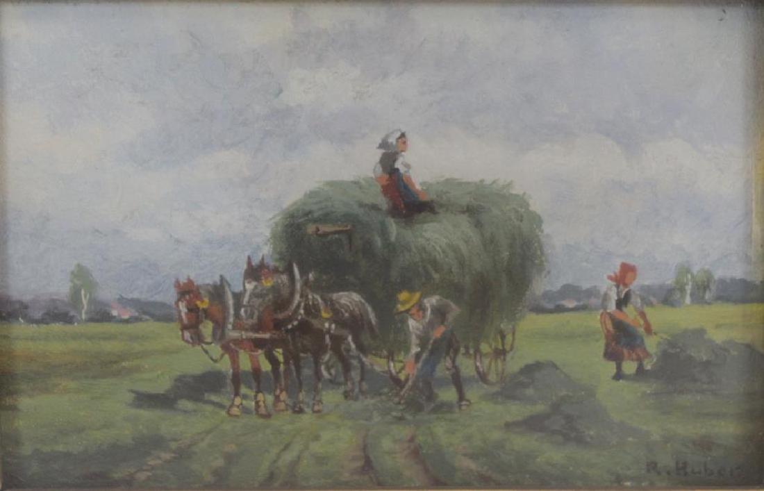 "HUBER, R. Watercolor. ""Harvesters""."