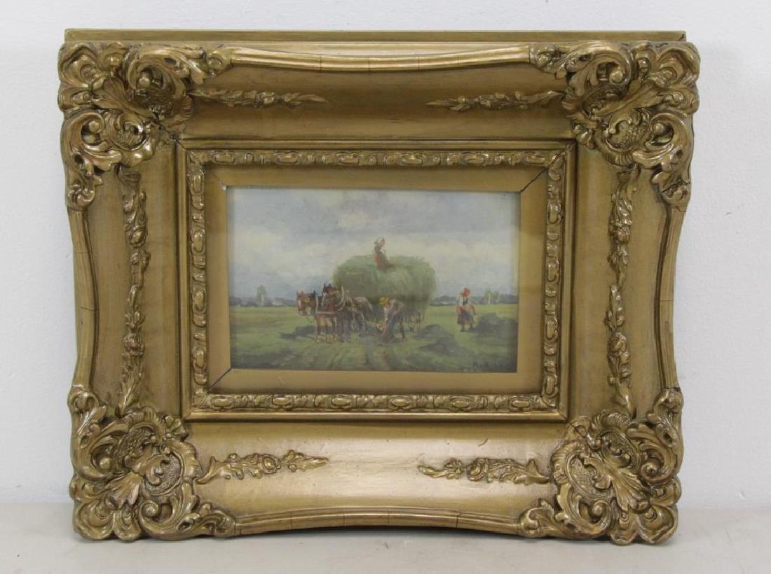 "HUBER, R. Watercolor. ""Harvesters"". - 2"