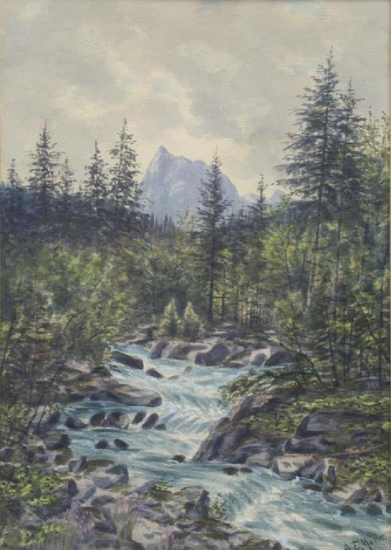"""MULLER, A.F. Watercolor. """"River Scene""""."""