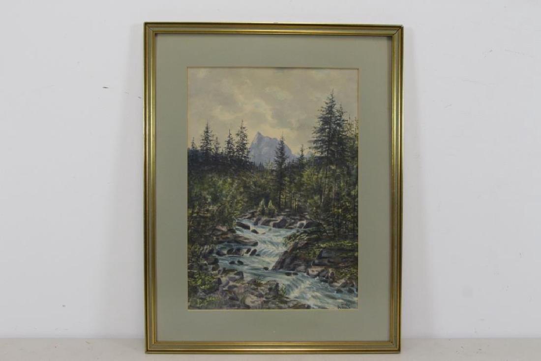 """MULLER, A.F. Watercolor. """"River Scene"""". - 2"""