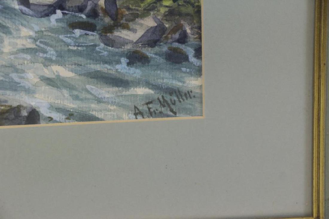 """MULLER, A.F. Watercolor. """"River Scene"""". - 3"""